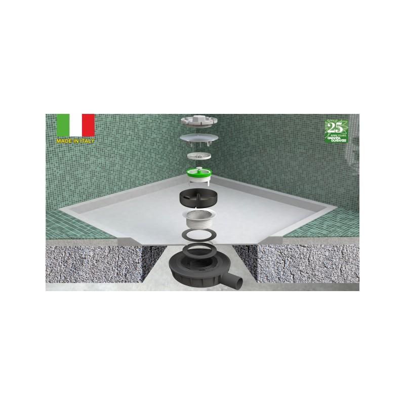 Ultra Flat Piatto Doccia Scheda Tecnica.Piletta Sifonata Doccia Ribassata Ultraflat 90